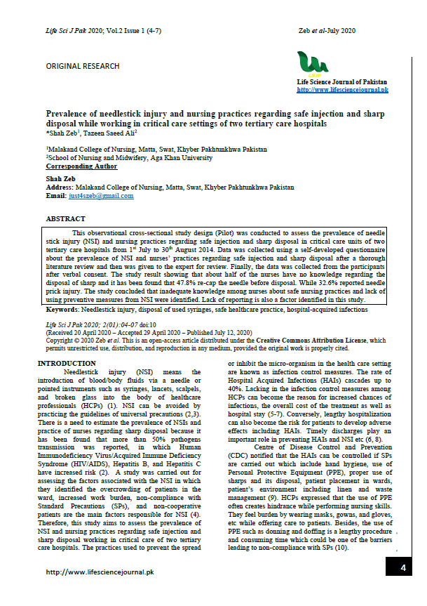 Prevalence of needlestick injury and nursing practices regarding safe injection and sharp disposal while working in critical care settings of two tertiary care hospitals
